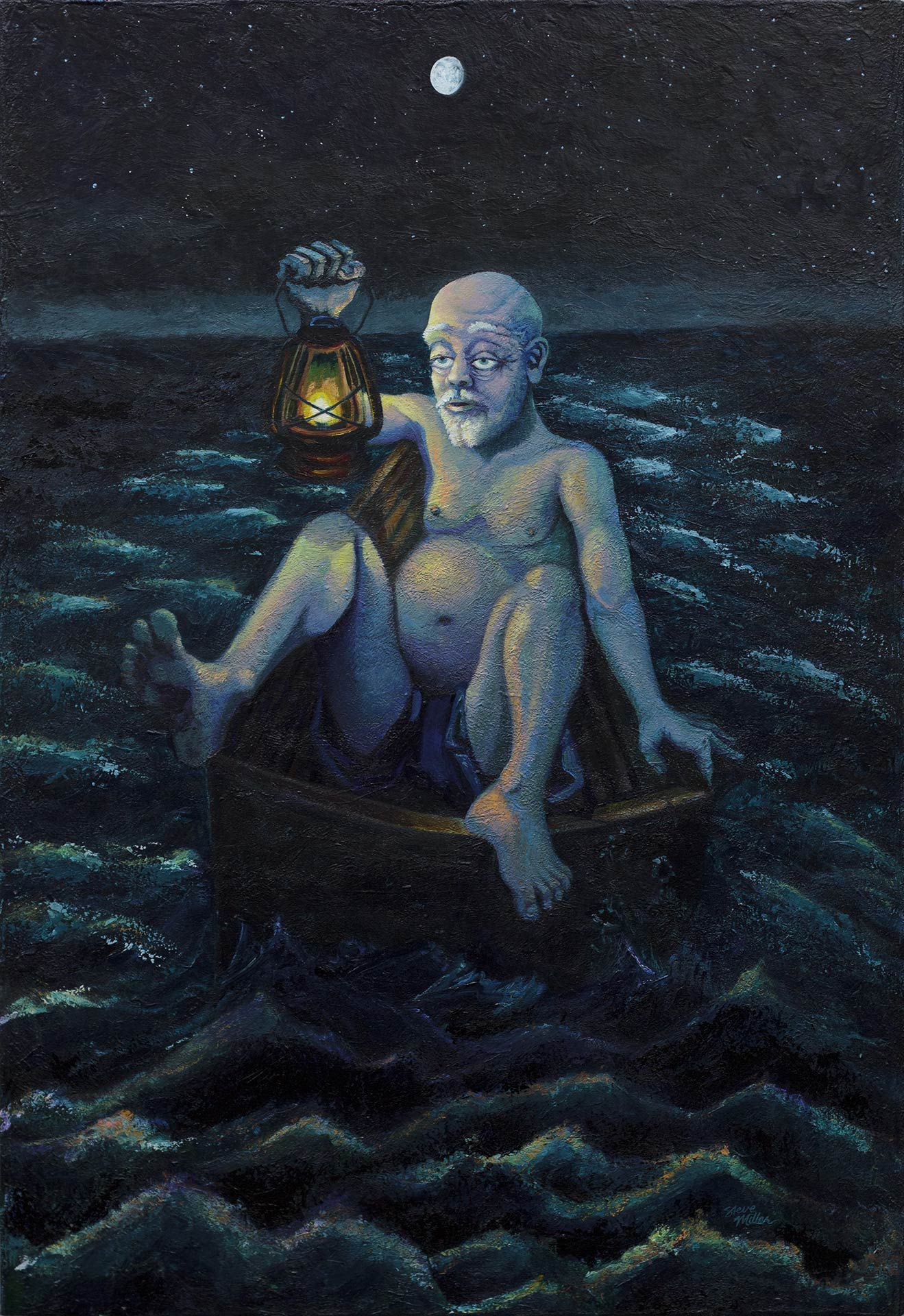 This painting features an older large white male, nearly naked, sitting in a tiny rowboat in the middle of the sea, at night, holding a lantern.