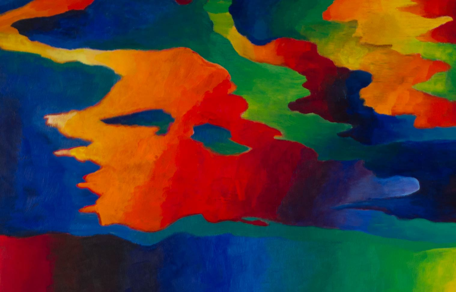 Detail of Improv Song a painting by Steve Miller with contrasting warm and cool color gradients.