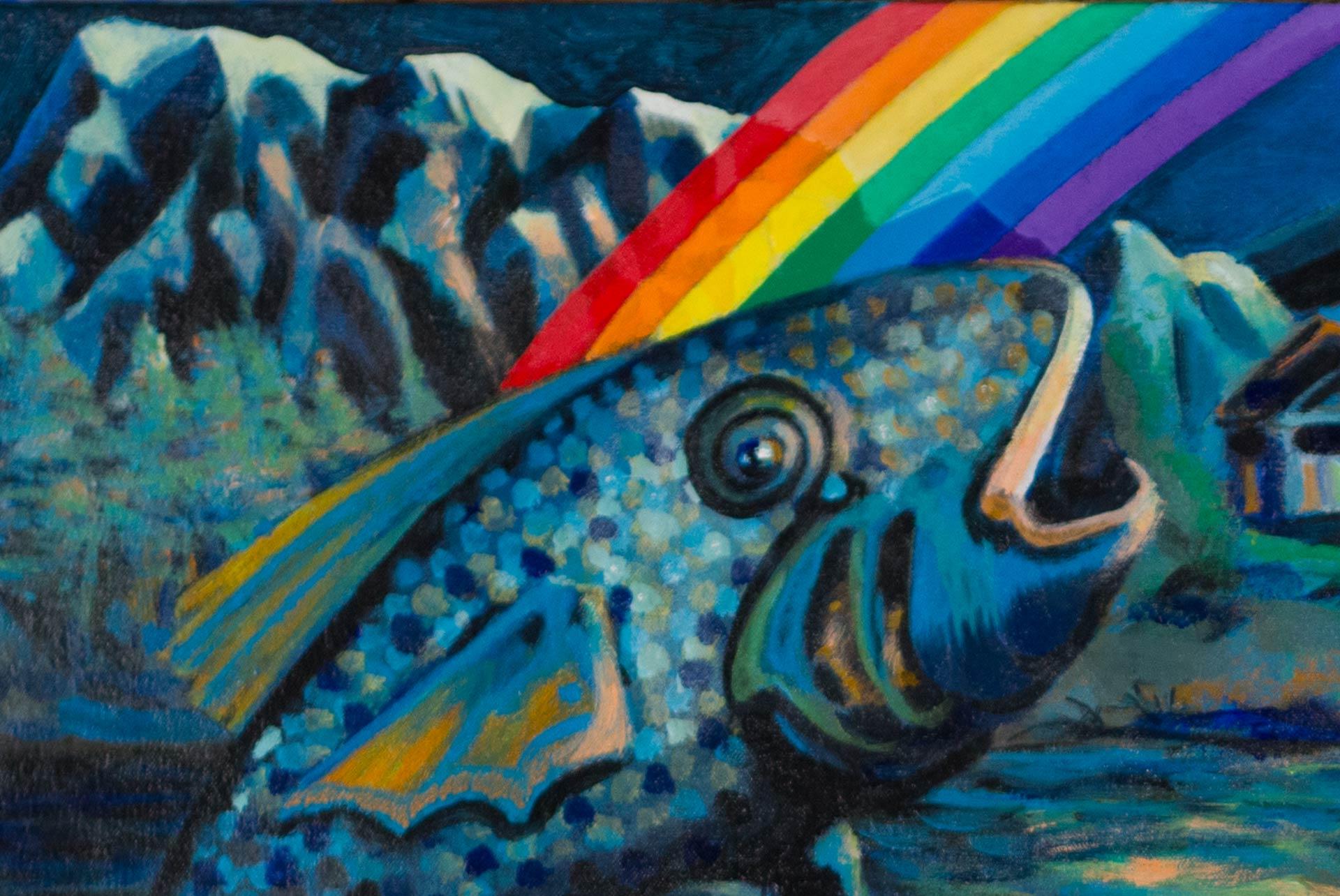 Rainbow Fish Rowboat Waterfall Portal