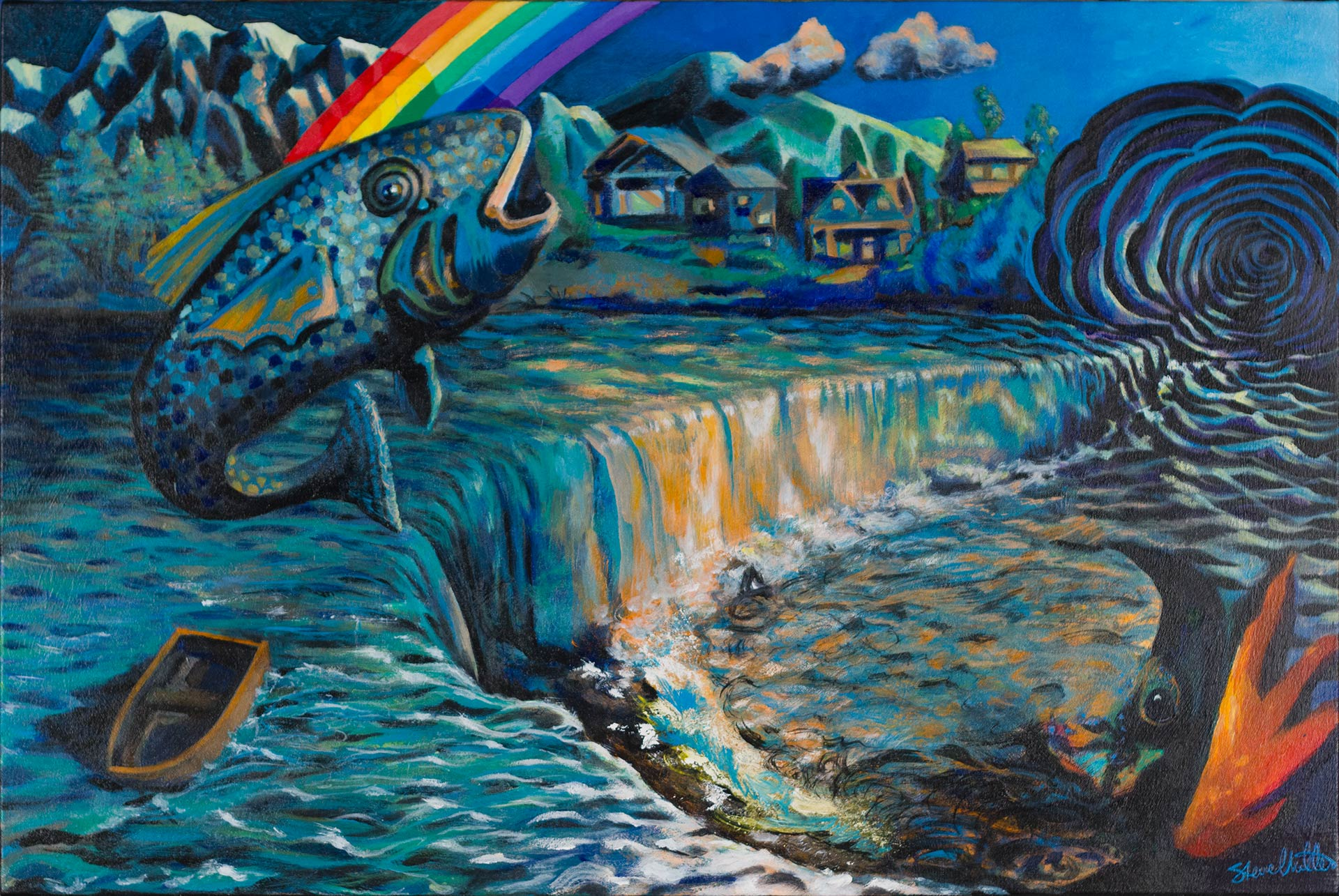 An acrylic landscape painting by Steve Miller of an imaginary rainbow, fish, mountains, house, rowboat, waterfall, and time and space portal. Acrylic on canvas. © Steve Miller 2016