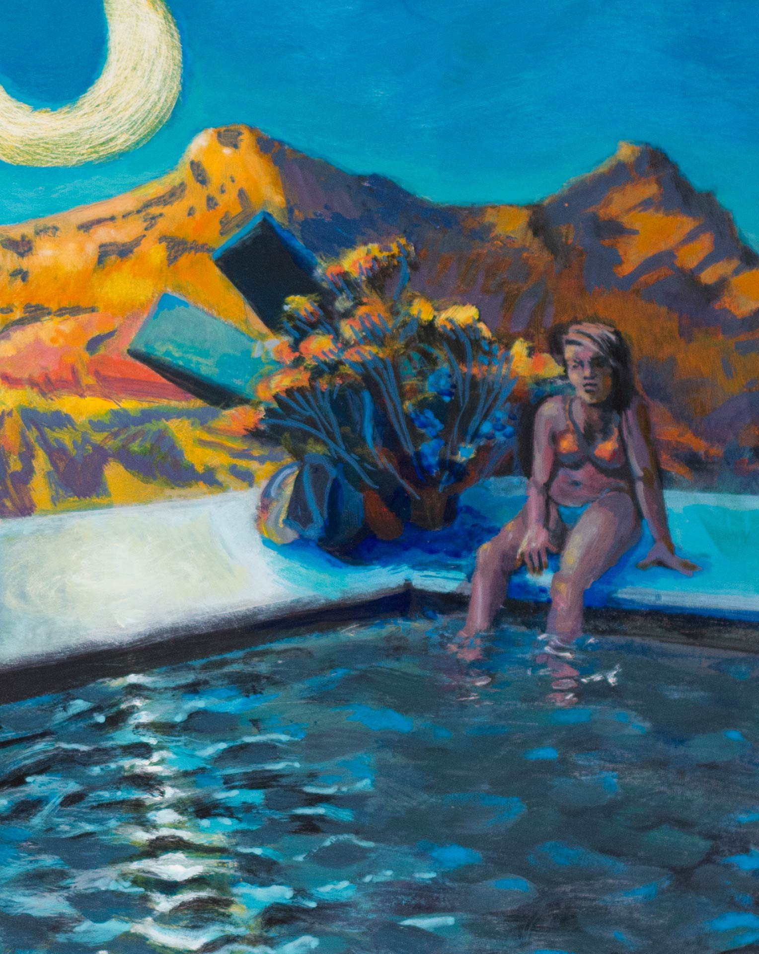 "Detail of a landscape painting by Steve Miller of a melancholy girl daydreaming by the pool when someone makes a splash. ""Under The Bison Moon"", 16"" x 20"", acrylic on GessoBoard, 2016."