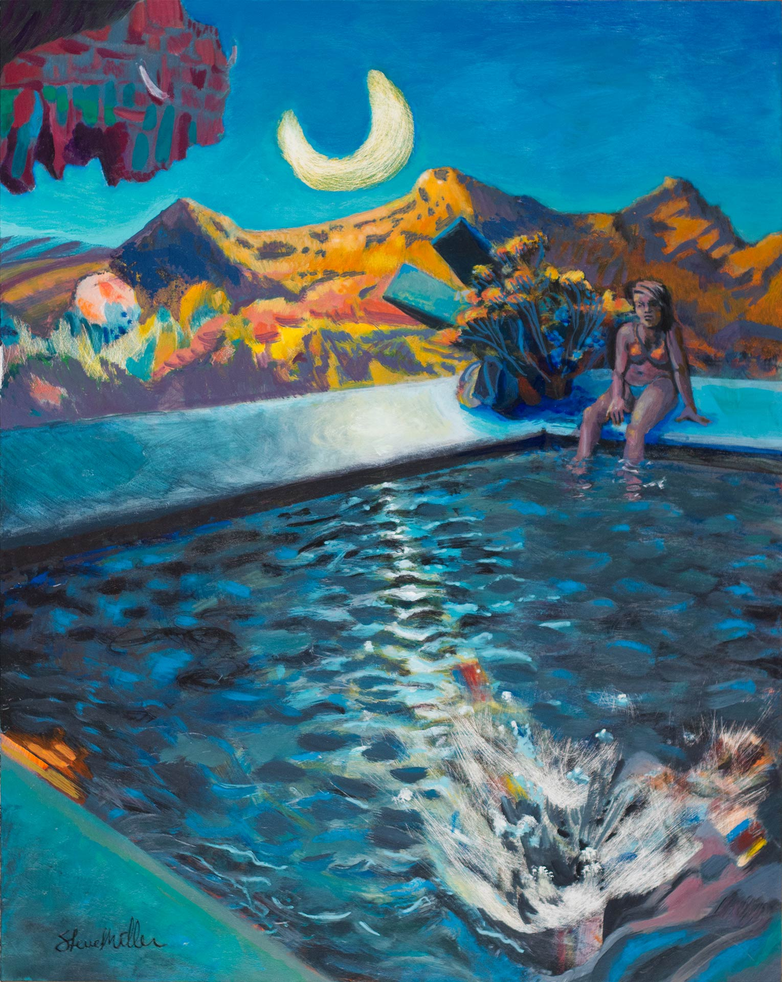 "Acrylic landscape painting by Steve Miller of a melancholy girl daydreaming by the pool when someone makes a splash. ""Under The Bison Moon"", 16"" x 20"", acrylic on GessoBoard, 2016."